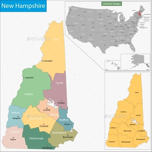 GraphicRiver New Hampshire Map 11481011
