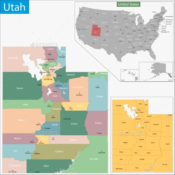 GraphicRiver Utah Map 11481057