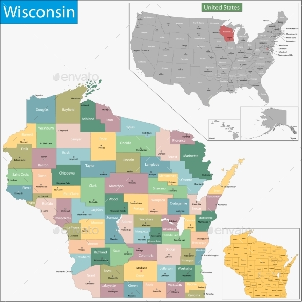 GraphicRiver Wisconsin Map 11481065