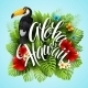 Aloha Hawaii. Hand Lettering With Exotic Flowers - GraphicRiver Item for Sale