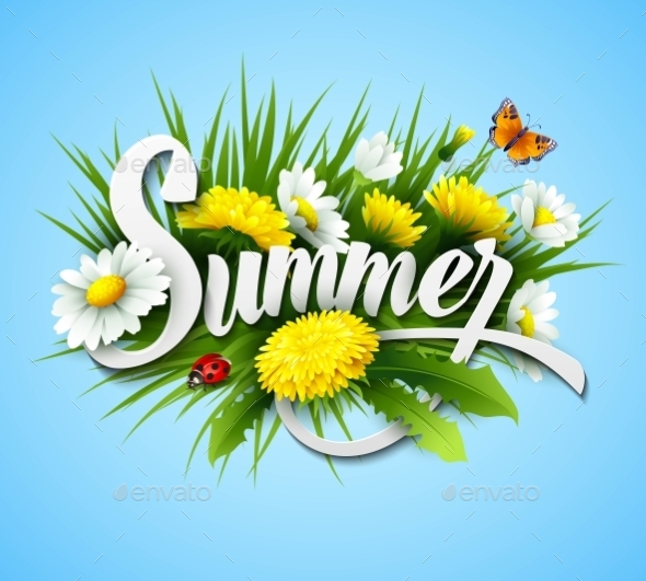 GraphicRiver Fresh Summer Background With Grass Dandelions 11481072