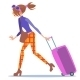 Tourist Woman Walking With a Suitcase Journey - GraphicRiver Item for Sale