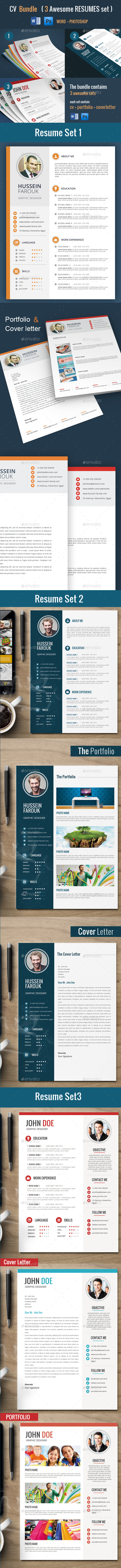 GraphicRiver Cv Bundle 3 Resume Sets 11481340