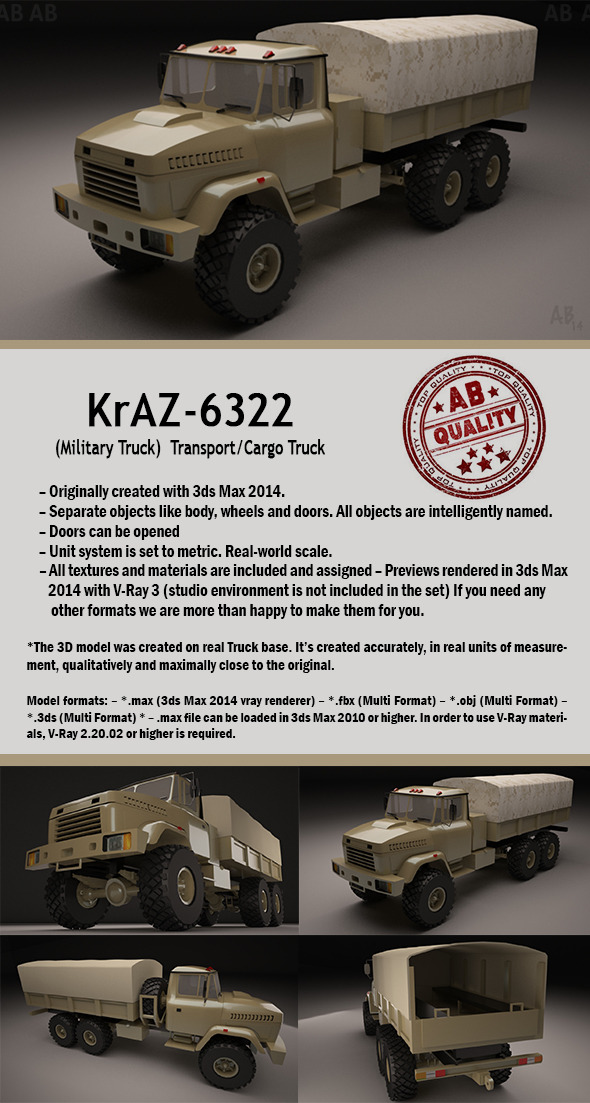 Military Truck (KrAZ-6322 Transport/Cargo) - 3DOcean Item for Sale