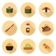 Set Of Cartoon Icons With Japanese Cuisine Objects - GraphicRiver Item for Sale