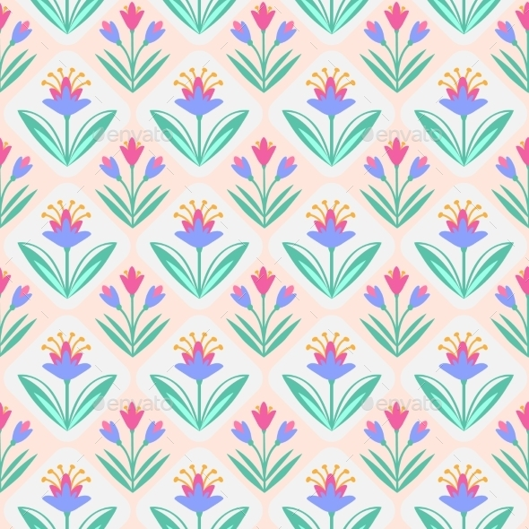 GraphicRiver Seamless Vector Pattern With Flowers 11481546