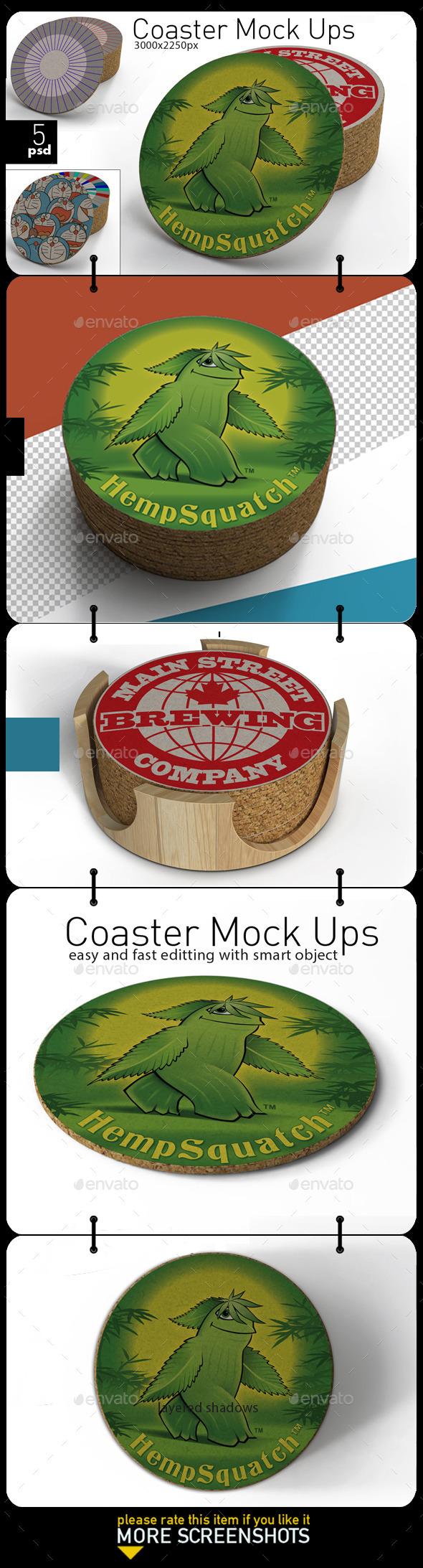 GraphicRiver Coaster Mock-ups 11482203