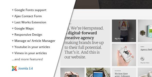 ThemeForest Hempstead Responsive Joomla Portfolio Template 11482285