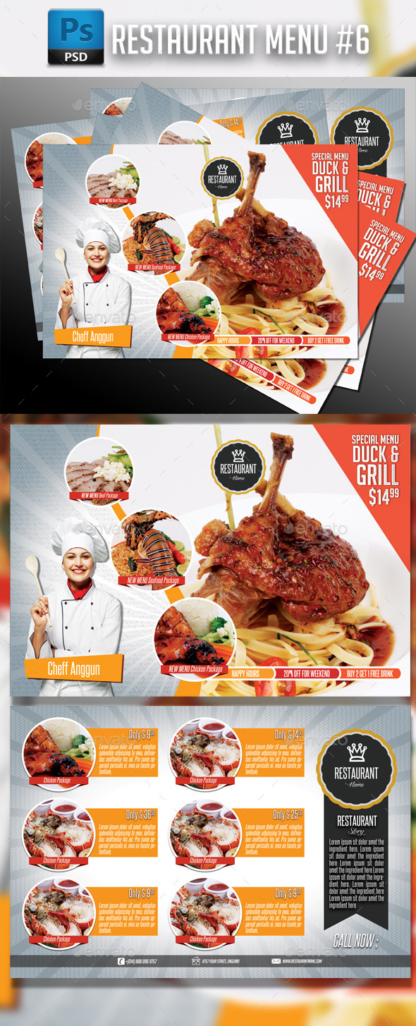 GraphicRiver Restaurant Menu Horizontal #6 11483130