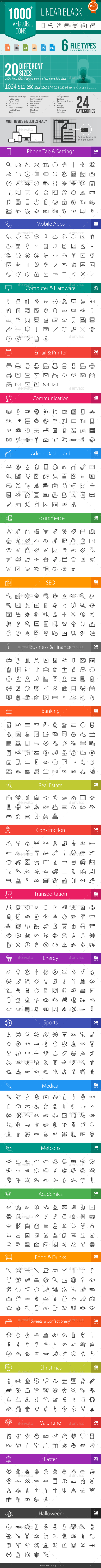 GraphicRiver 1000& Linear Black Vector Icons 11488372