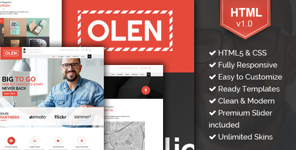 ThemeForest OLEN Multipurpose Responsive Corporate HTML5 Template 11425477