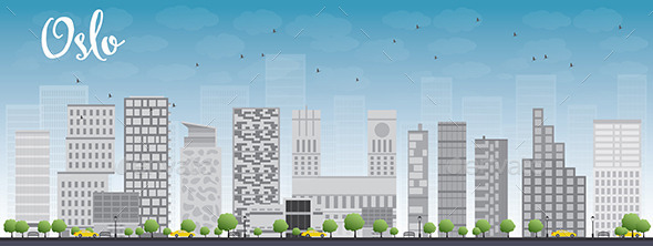 GraphicRiver Oslo Skyline with Grey Building and Blue Sky 11489268