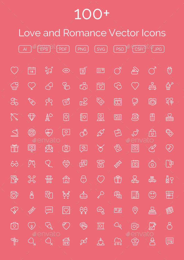 GraphicRiver 100& Love and Romance Vector Icons 11489271