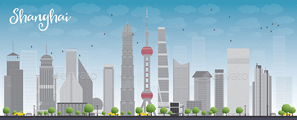 GraphicRiver Shanghai Skyline with Blue Sky and Skyscrapers 11489484
