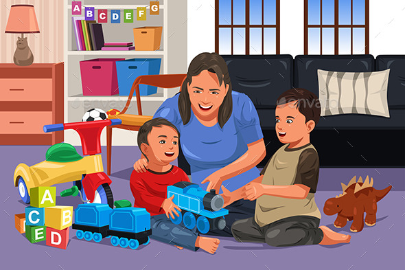 GraphicRiver Mother Playing with Her Kids 11489485