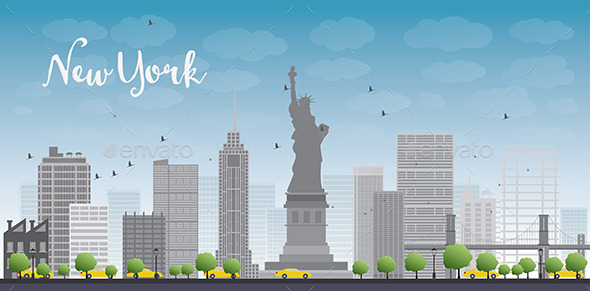 GraphicRiver New York City Skyline with Blue Sky and Clouds 11489491