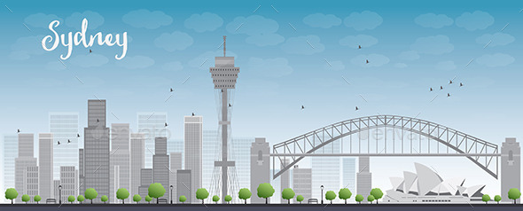 GraphicRiver Sydney City Skyline with Blue Sky and Skyscrapers 11489500