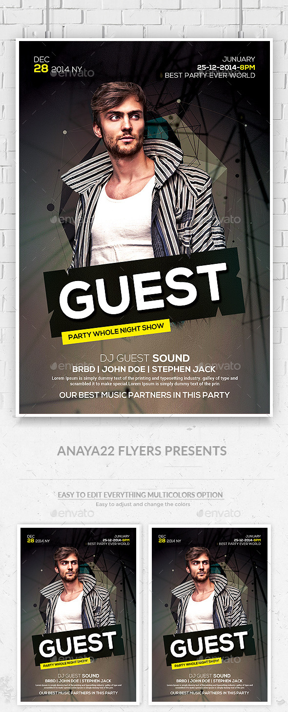 GraphicRiver Electro House Music DJ Flyer Template 11489501