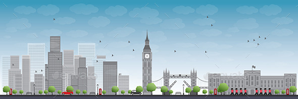 GraphicRiver London Skyline with Skyscrapers and Clouds 11489512