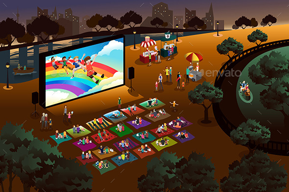 GraphicRiver People Watching Outdoor Movie in a Park 11489514