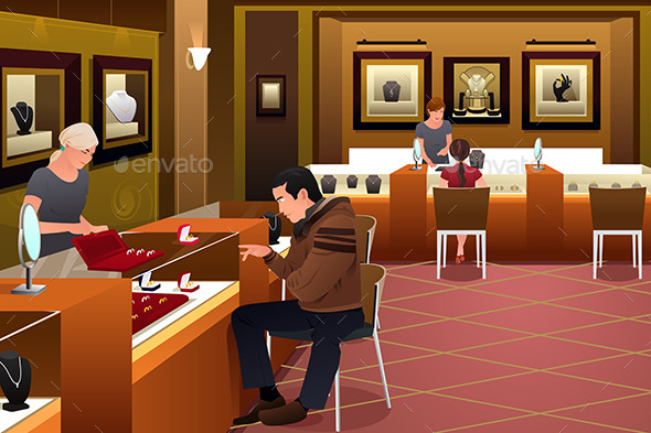 GraphicRiver Man Shopping for a Wedding Ring in a Jewelry Store 11489844