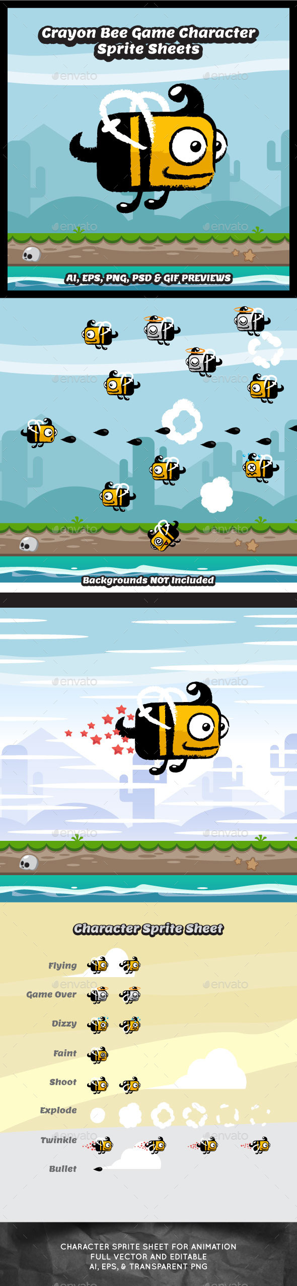 GraphicRiver Crayon Style Flappy Bee Game Character 11490244