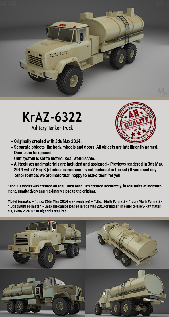 Military Tanker Truck (KrAZ-6322) - 3DOcean Item for Sale