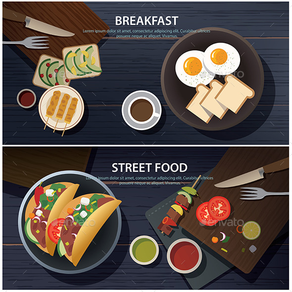 GraphicRiver Breakfast and Street Food Banner 11491150