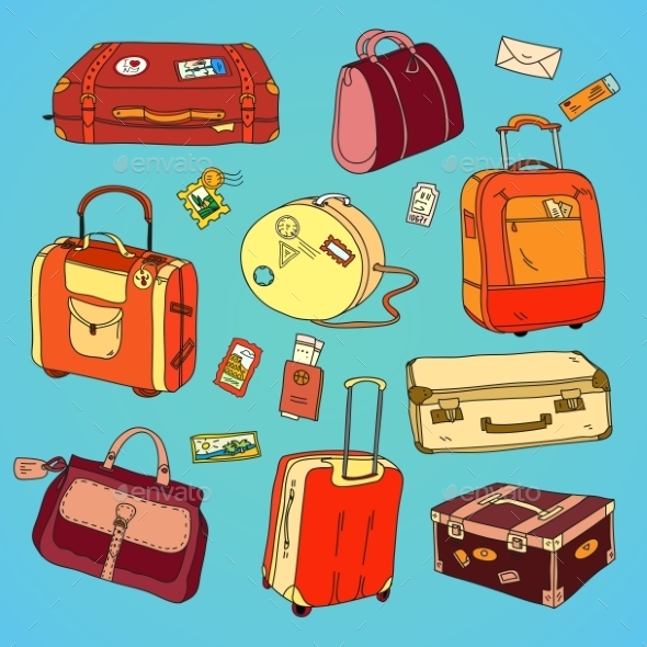 GraphicRiver Collection of Vintage Travel Suitcases 11491843