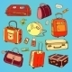 Collection of Vintage Travel Suitcases - GraphicRiver Item for Sale