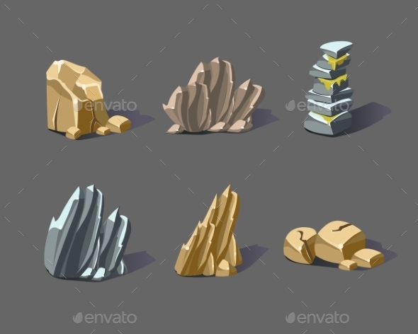 GraphicRiver Cartoon Stones and Minerals 11492079