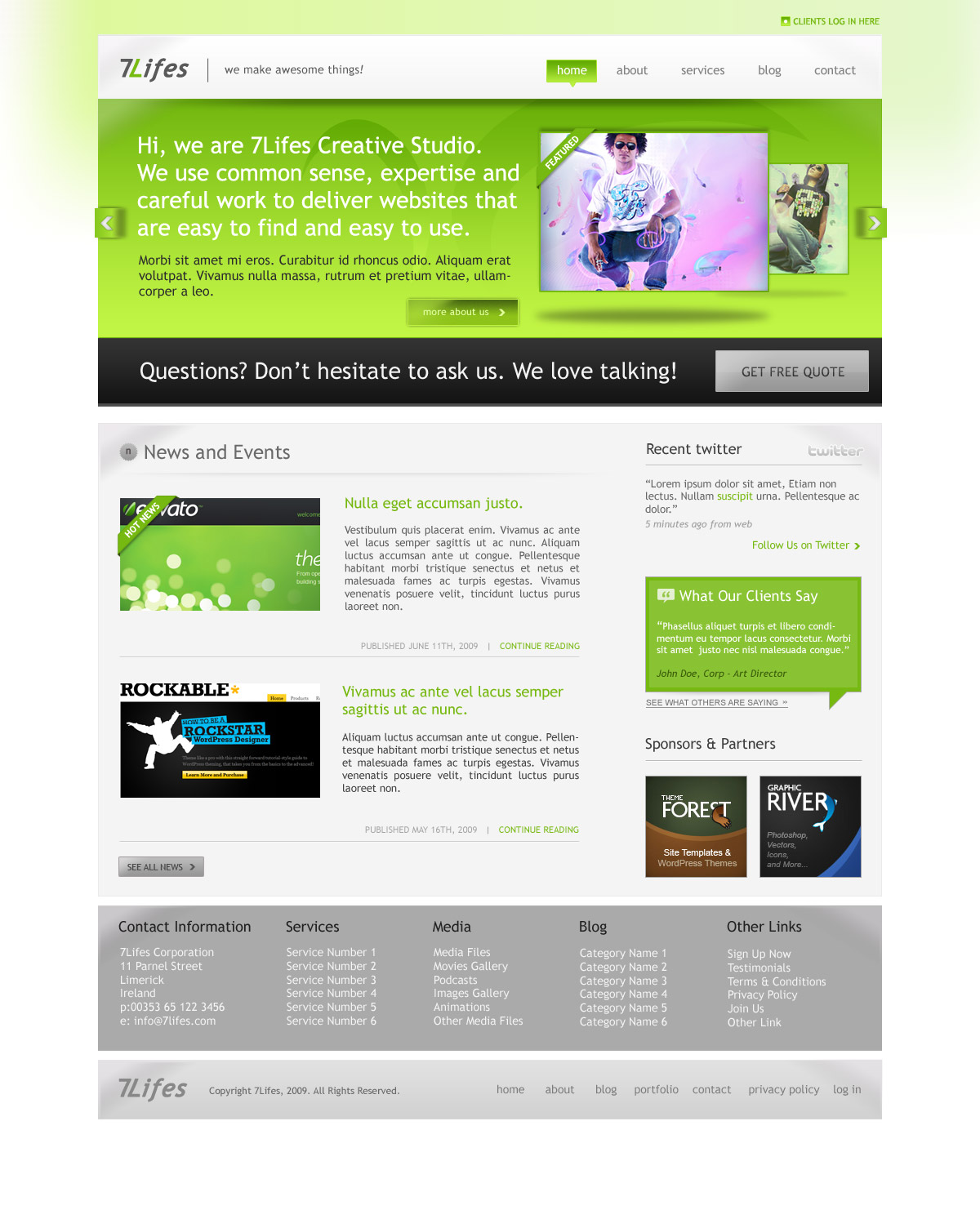 7Lifes - Modern and Professional Psd. Template - Homepage - Color Green - Color full baner with company or product prezentation.