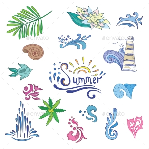 GraphicRiver Colorful Sketch Style Summer Icons 11492926