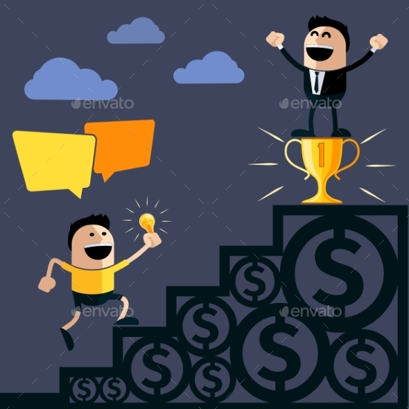 GraphicRiver Businessman On Pedestal With Cup 11493143