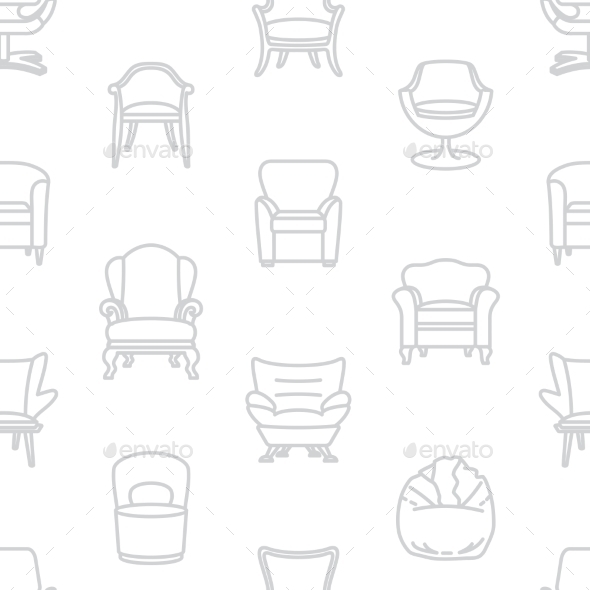 GraphicRiver Seamless Vector White Pattern Of Armchairs 11493194