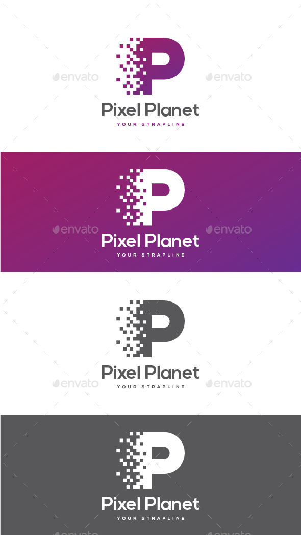 GraphicRiver Pixel Planet Letter P Logo 11493330