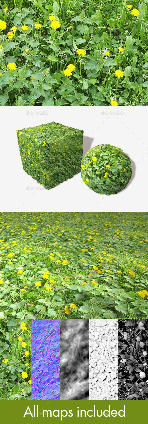 3DOcean Dandelions and Weeds Seamless Texture 11493593