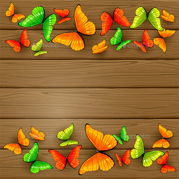 GraphicRiver Colorful Butterflies on Wooden Background 11493838
