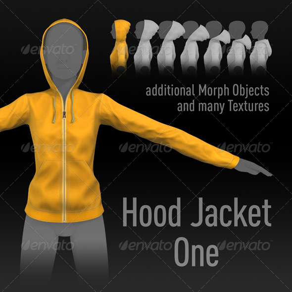 3DOcean Hood Jacket One additional Morphs many Textures 141840