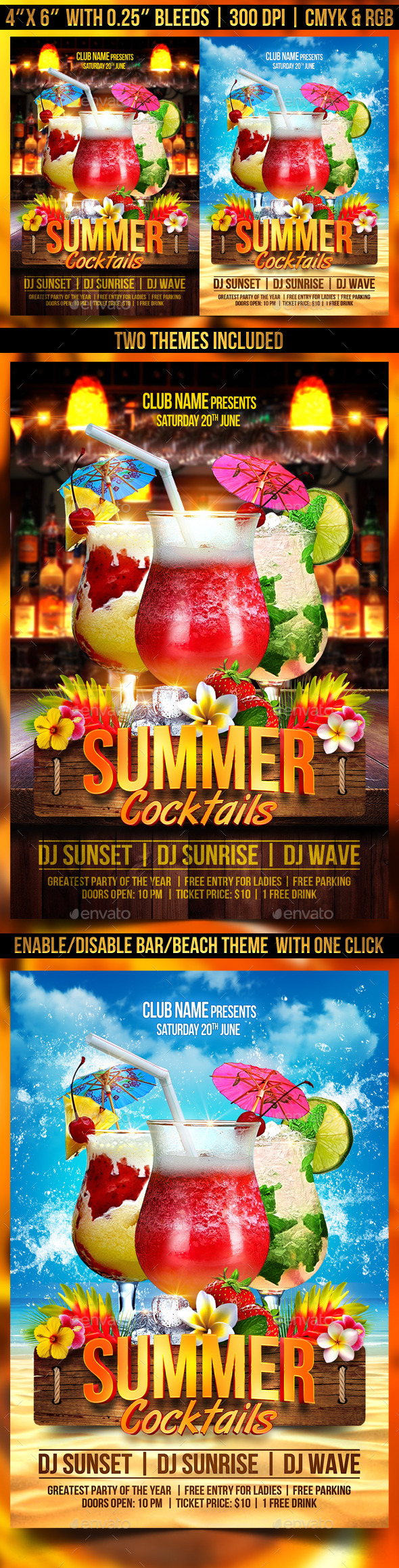 GraphicRiver Summer Cocktails Flyer Template 11493905