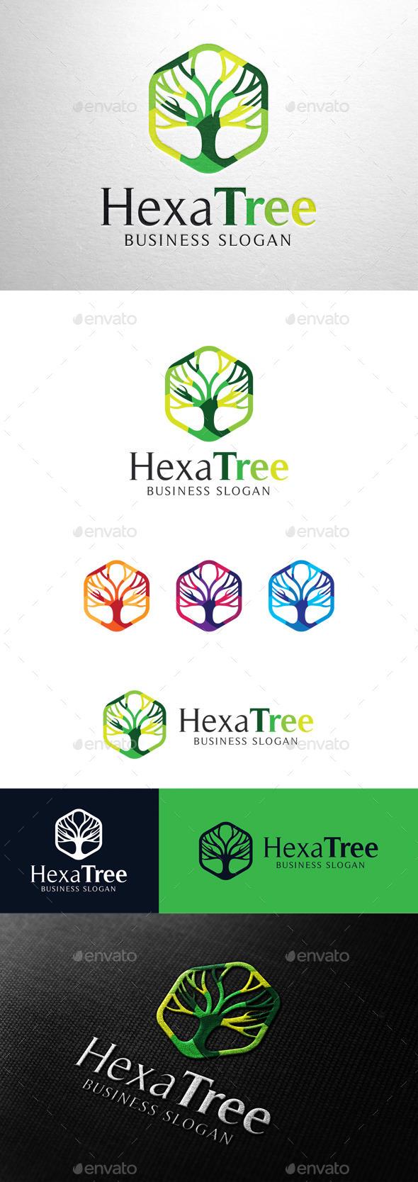 GraphicRiver Abstract Hexa Tree Logo 11494103