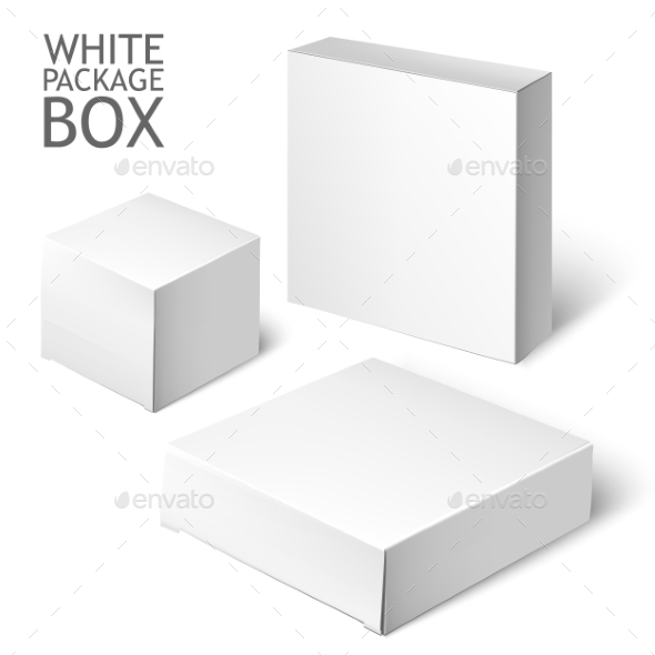 GraphicRiver Set Of White Package Square Cardboard Package Box 11494197