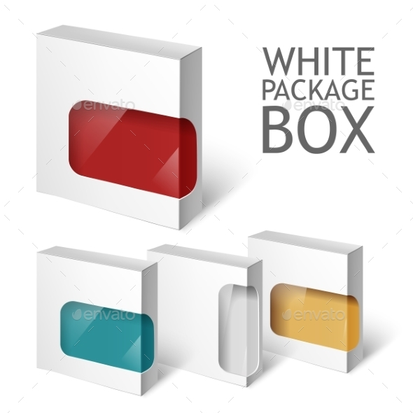 GraphicRiver Set Of White Package Square Cardboard Package Box 11494198