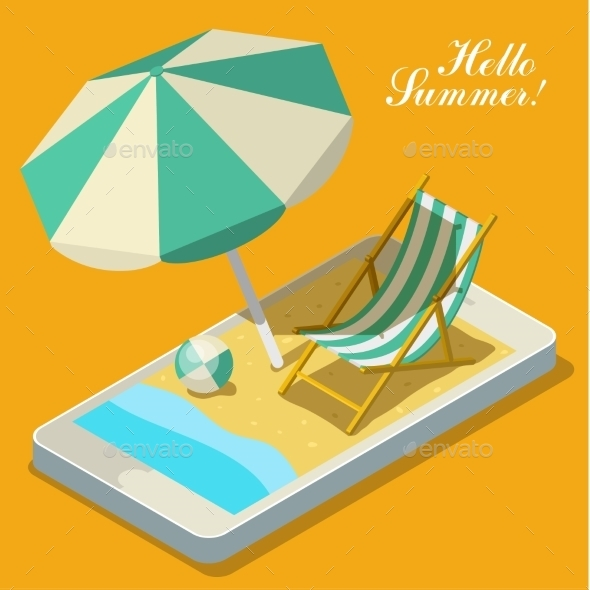 GraphicRiver Vacation With Mobile Phone Concept 11494214