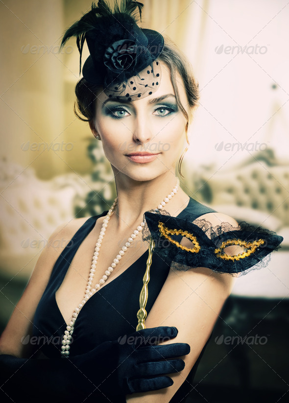 Retro Holidays Celebration. Masquerade. Vintage Styled - Stock Photo - Images