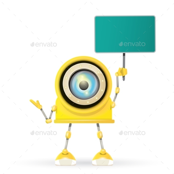 GraphicRiver Orange Cartoon Robot Isolated On White 11494589
