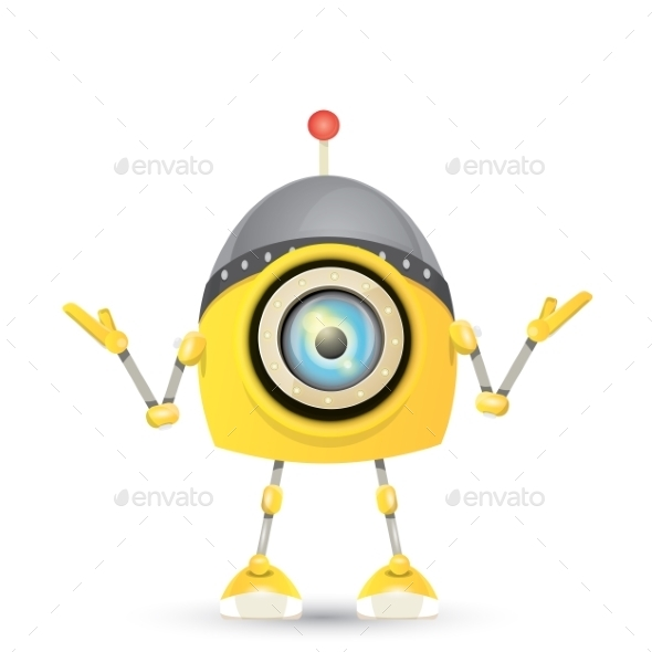 GraphicRiver Orange Cartoon Robot Isolated On White 11494622