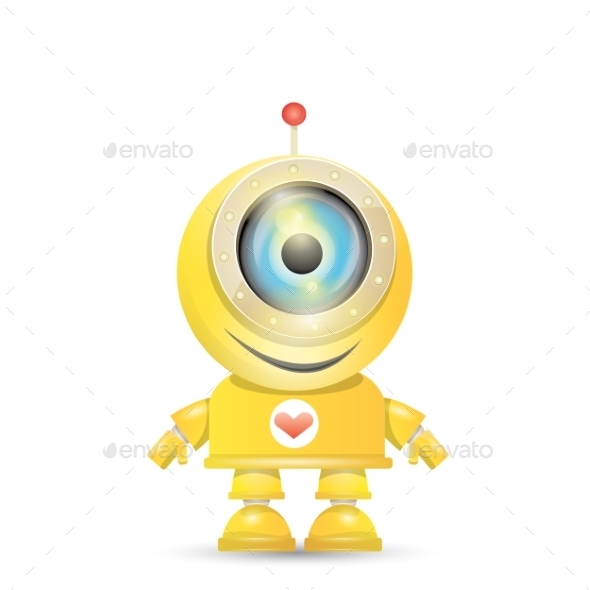 GraphicRiver Orange Cartoon Robot Isolated On White 11494632