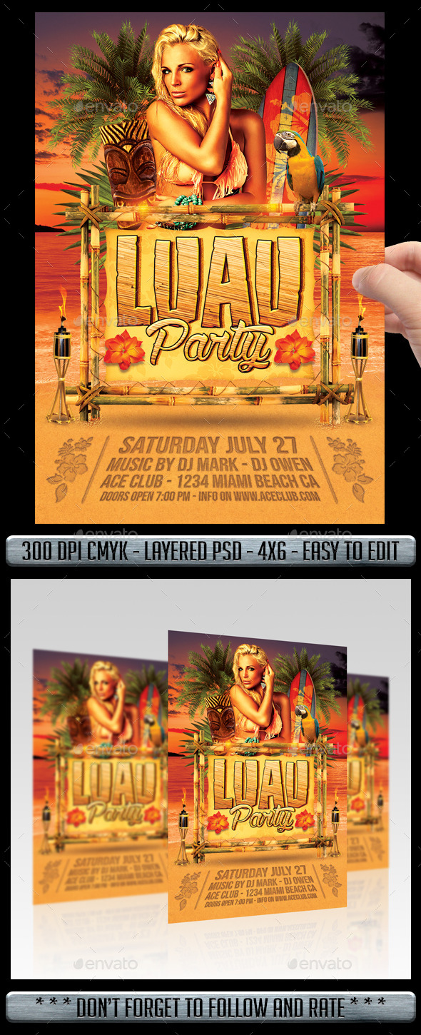 GraphicRiver Luau Party Flyer 11494633