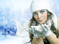 Christmas Girl. Winter Girl Blowing Snow - PhotoDune Item for Sale